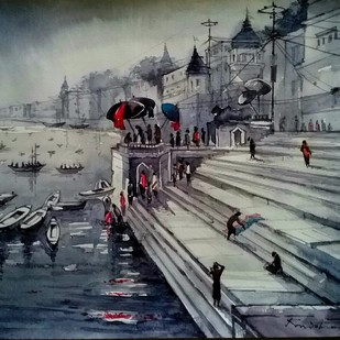 Varanasi Ghat by Krishnendu Halder, Impressionism Painting, Watercolor on Paper, Gray color