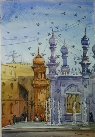 Macca Masjid by Krishnendu Halder, Impressionism Painting, Watercolor on Paper, Brown color