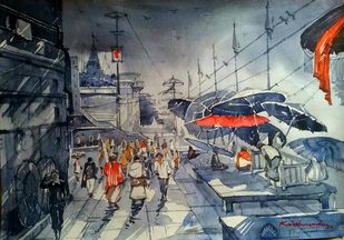 Ghat Area by Krishnendu Halder, Impressionism Painting, Watercolor on Paper, Gray color
