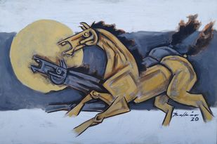 The two horses by Balbir Singh, Expressionism Painting, Acrylic on Board, Cyan color