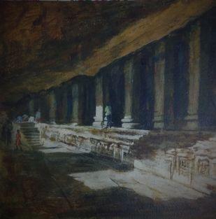 AJANTA by Pradipkumar Jadhav, Impressionism Painting, Acrylic on Board, Gray color