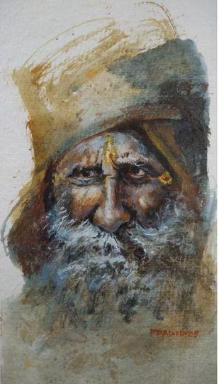 sadhu by Pradipkumar Jadhav, Impressionism Painting, Acrylic on Board, White color