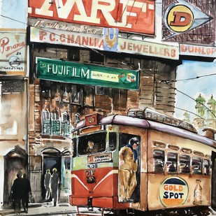 90s Calcutta _Esplanade and Tram by Avanish Trivedi, Impressionism Painting, Watercolor on Paper, Brown color