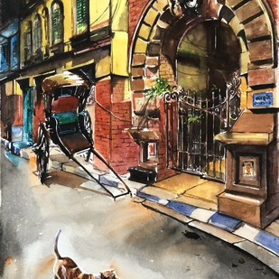 North Calcutta Lane and Rickshaw by Avanish Trivedi, Impressionism Painting, Watercolor on Paper, Brown color