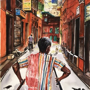 Calcutta Rickshaw _North Calcutta Lanes by Avanish Trivedi, Impressionism Painting, Watercolor on Paper, Brown color