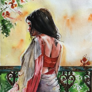 Calcutta Afternoon_Aboshor by Avanish Trivedi, Impressionism Painting, Watercolor on Paper, Beige color