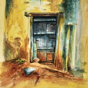 Lockdown by Rajmohan, Impressionism Painting, Watercolor on Paper, Beige color