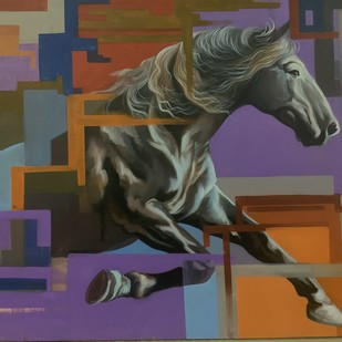 Running hours by Mk goyal, Expressionism Painting, Acrylic on Canvas, Brown color