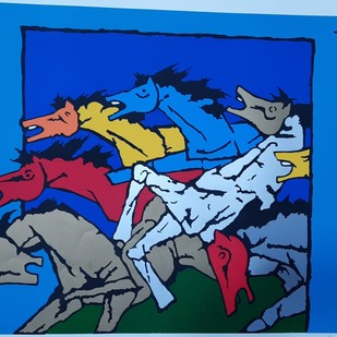 Horses by M F Husain, Expressionism Serigraph, Serigraph on Paper, Blue color