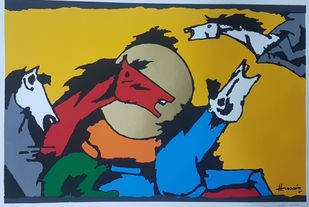 Horses by M F Husain, Expressionism Serigraph, Serigraph on Paper, Green color