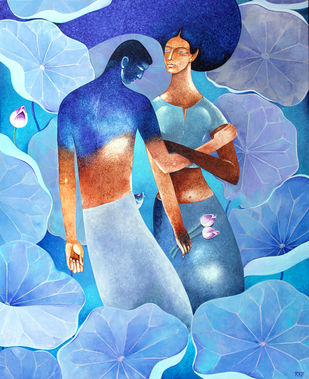 ETERNAL LOVE by Raji Pavithran, Fantasy Painting, Acrylic on Canvas, Cyan color