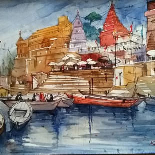 Ghat Series by Krishnendu Halder, Impressionism Painting, Watercolor on Paper, Brown color