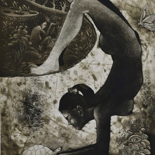 Woman libber by Tribhuvan Kumar, Surrealism Printmaking, Etching on Paper, Gray color