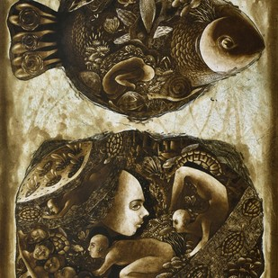 Animism by Tribhuvan Kumar, Surrealism Printmaking, Etching on Paper, Brown color