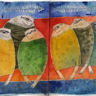 Tribal market by Umesh Bhoi, Expressionism Painting, Watercolor on Paper, Brown color