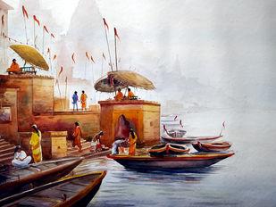 Early Morning Varanasi Ghats by Samiran Sarkar, Impressionism Painting, Watercolor on Paper, Gray color