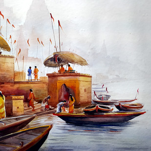 Early Morning Varanasi Ghats by Samiran Sarkar, Impressionism Painting, Watercolor on Paper, Gray color