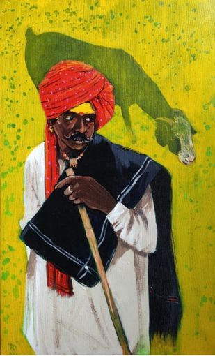 shepherd...1 by Ganesh Jadhav , Expressionism Painting, Acrylic on Canvas, Green color