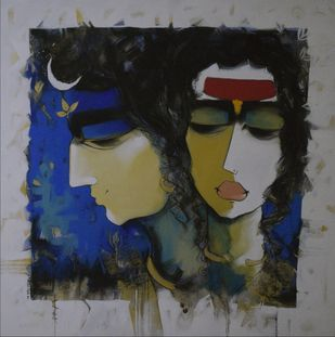 OM by Sharad Kale, Expressionism Painting, Mixed Media on Canvas, Gray color