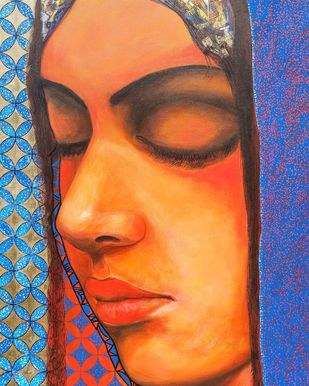 Rumination by Dilawar Khan, Expressionism Painting, Acrylic on Paper, Chambray color
