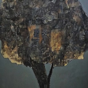 Ailing Tree by Dilawar Khan, Expressionism Painting, Acrylic on Canvas, Tuatara color