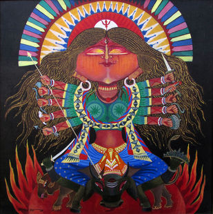 Religious by Ashok Roy, Traditional Painting, Acrylic on Canvas, Brown color