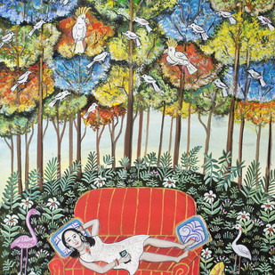 Enjoying this peace by Nayanaa Kanodia, Naive Painting, Mixed Media on Paper, Red color
