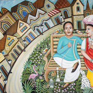 The Perfect Companionship by Nayanaa Kanodia, Naive Painting, Oil on Canvas, Red color