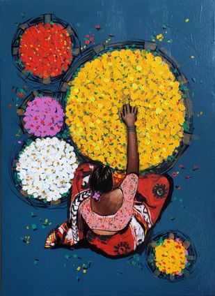 flower seller by Ganesh Jadhav , Expressionism Painting, Acrylic on Canvas, Blue color