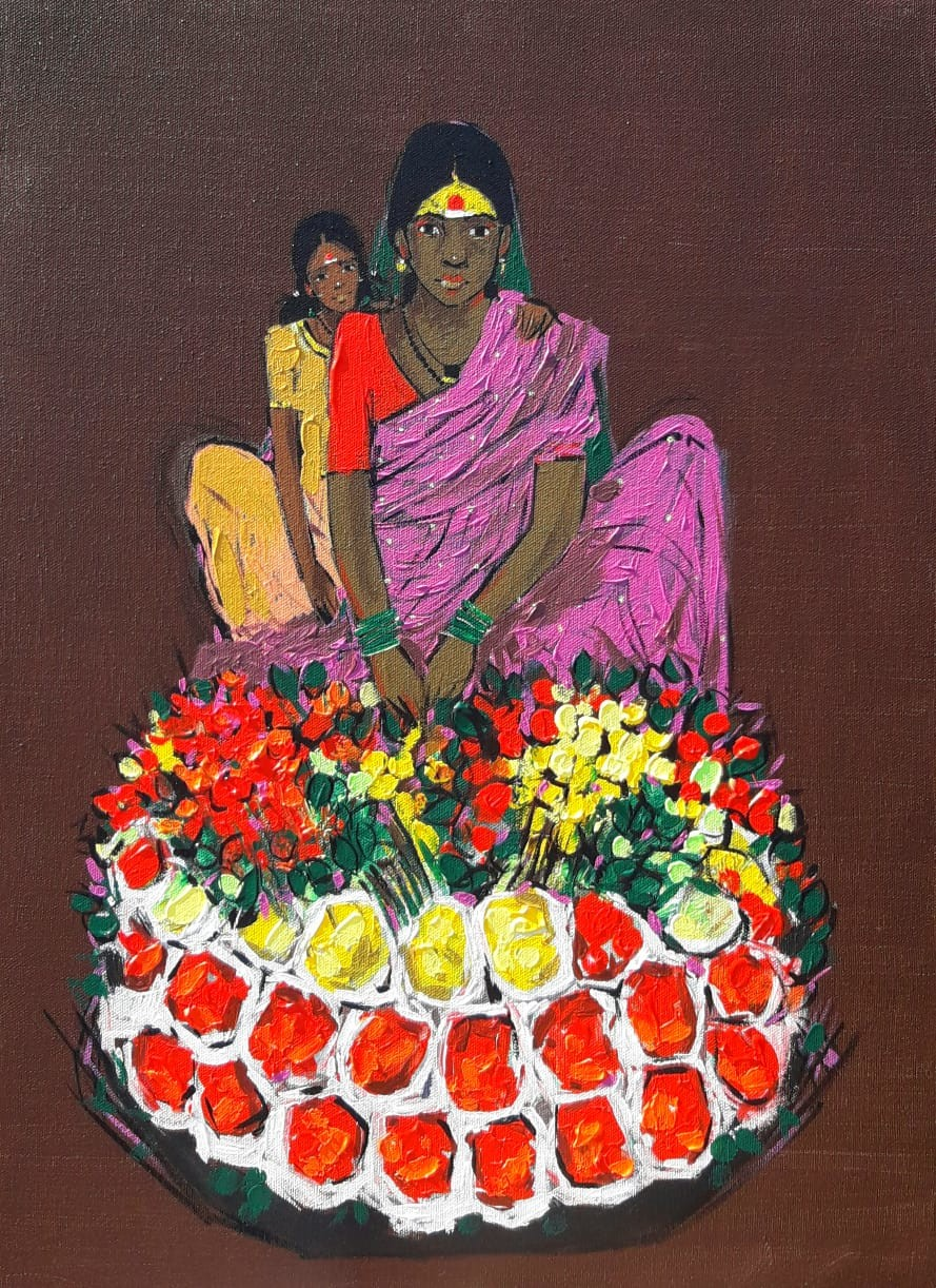 flower seller by Ganesh Jadhav , Expressionism Painting, Acrylic on Canvas, Brown color