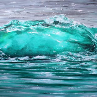 Green Surge by Shveta Saxena, Expressionism Painting, Acrylic on Canvas, Cyan color