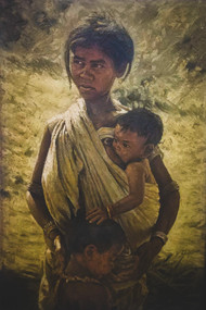 Motherhood breaking Poverty by Vidhya Sagar Tayal, Expressionism Painting, Oil on Canvas, Brown color