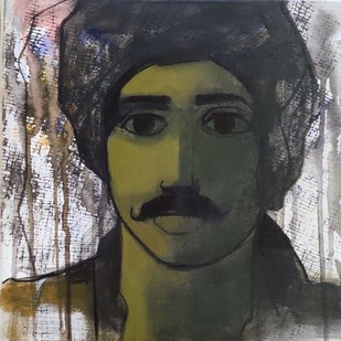 man face by Sachin Sagare, Expressionism Painting, Acrylic on Canvas, Gray color