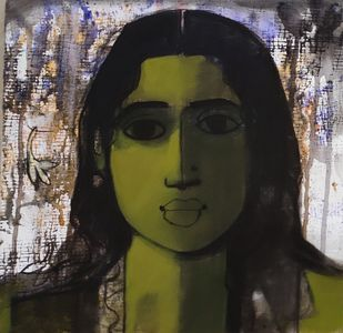 woman face by Sachin Sagare, Expressionism Painting, Acrylic on Canvas, Gray color
