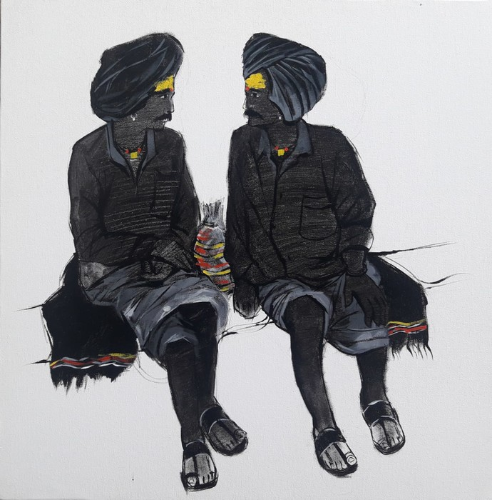 Friends by Ganesh Jadhav , Expressionism Painting, Acrylic on Canvas, Gray color