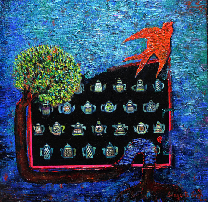 Tea-Side Stories by Sangeeta Singh, Expressionism Painting, Oil & Acrylic on Canvas, Blue color