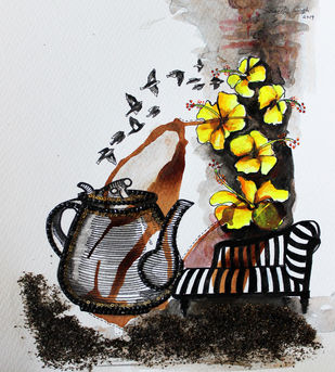 Tea-Side Stories by Sangeeta Singh, Expressionism Painting, Mixed Media on Paper, Gray color