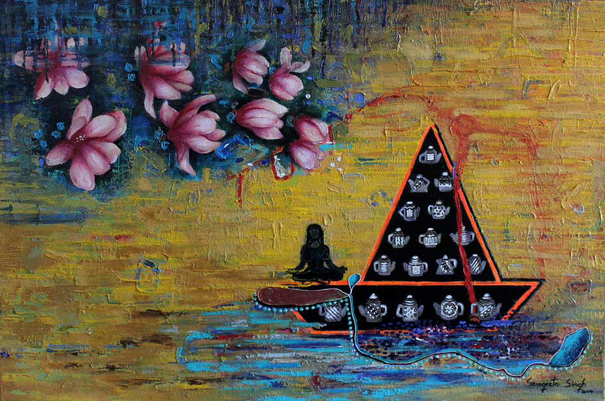Tea-Side Stories by Sangeeta Singh, Expressionism Painting, Oil & Acrylic on Canvas, Brown color
