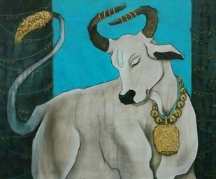 Bull by Shatakshi Sharma , Expressionism Painting, Acrylic on Canvas, Green color