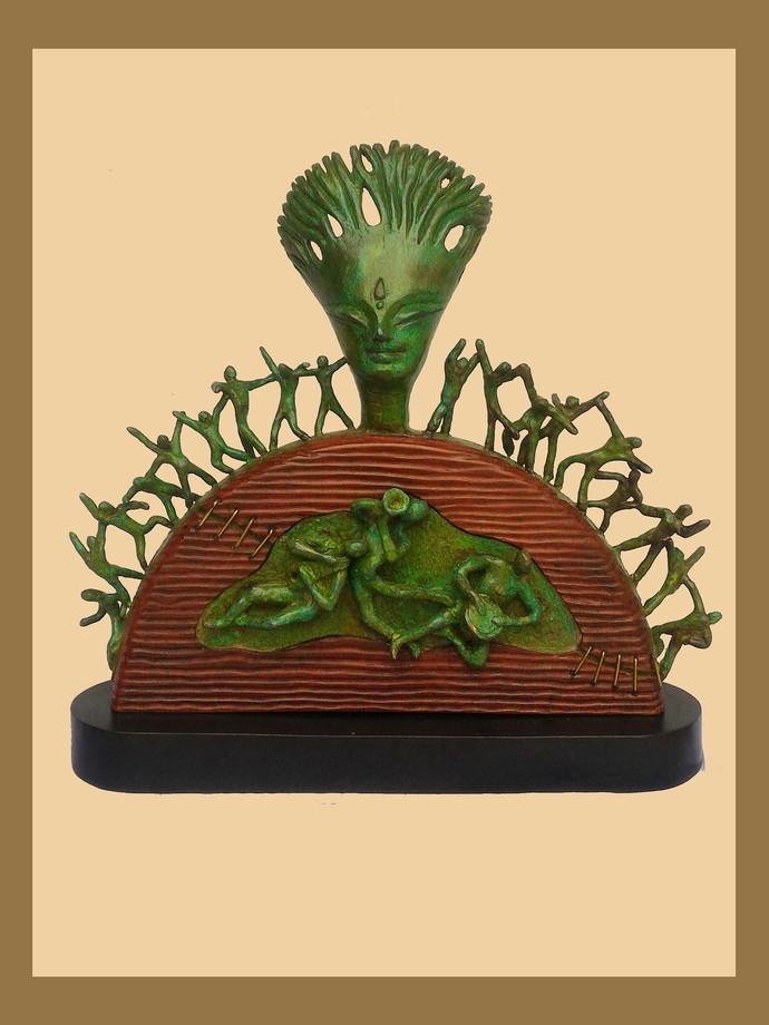 FESTIVAL by Subrata Paul, Art Deco Sculpture   3D, Wood & Brass, Beige color