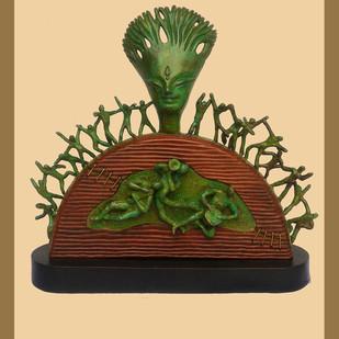 FESTIVAL by Subrata Paul, Art Deco Sculpture | 3D, Wood & Brass, Beige color