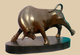 POWER by Subrata Paul, Art Deco Sculpture   3D, Bronze, Beige color