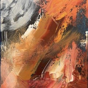 Vibe.Fire.Mountain by Rohaan Unvala, Abstract Painting, Acrylic on Canvas, Brown color