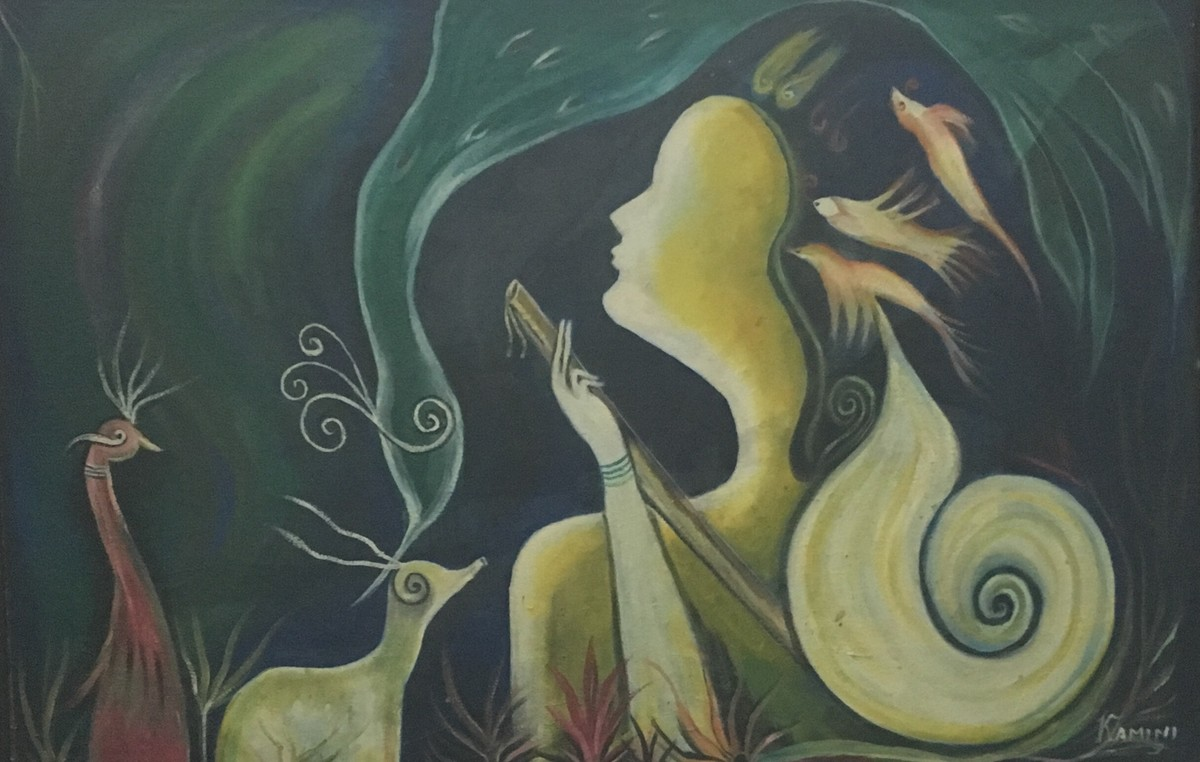 thoughts by KAMINI MINOCHA, Decorative Painting, Oil on Canvas, Green color