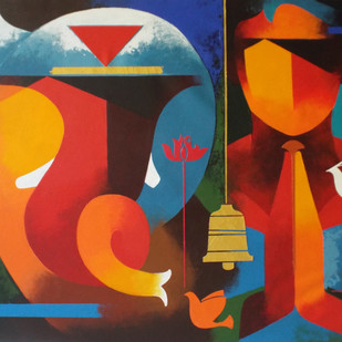 towards happiness with ganesh-4 by RANJIT SINGH KURMI, Expressionism Painting, Acrylic on Canvas, Brown color