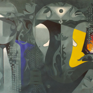 towards happiness with ganesh-4 by RANJIT SINGH KURMI, Expressionism Painting, Acrylic on Canvas, Gray color