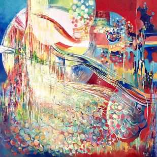 The Rising Sun by Ella Prakash, Expressionism Painting, Oil on Canvas, Beige color