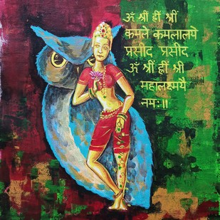 Maha Lakshmi by Herendra Swarup , Expressionism Painting, Acrylic on Canvas,