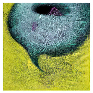 Untitled by Sanju Jain, Abstract Painting, Mixed Media on Canvas, Green color