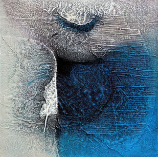 Untitled by Sanju Jain, Abstract Painting, Mixed Media on Canvas, Gray color